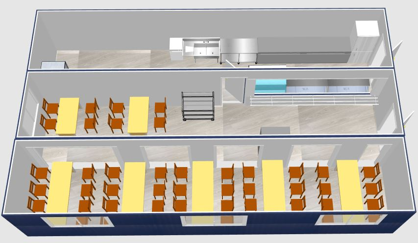 aménagement de container shelter maritime refectoire cuisine