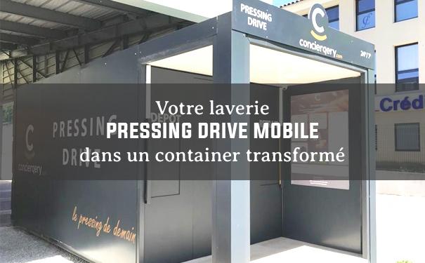 Laverie pressing mobile dans container transformé